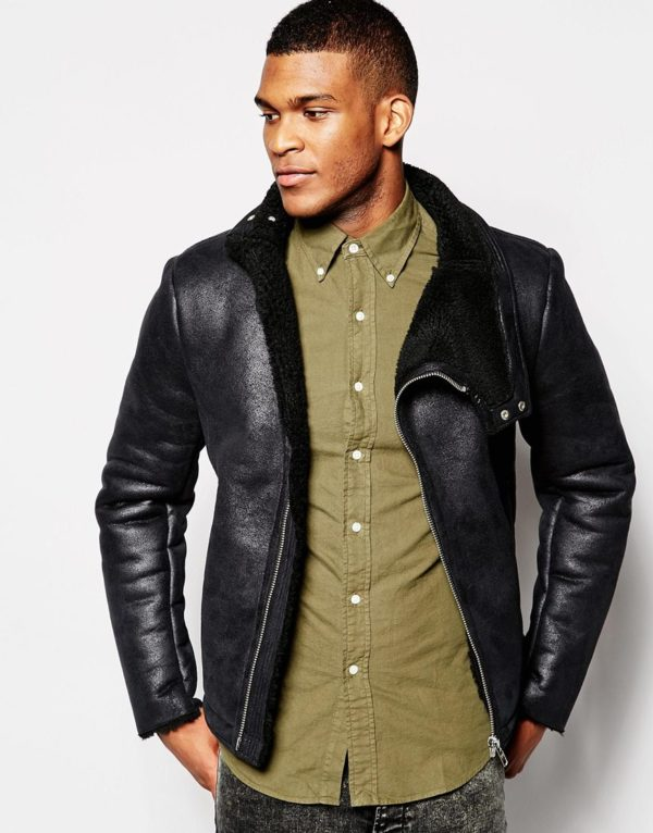 ASOS Faux Shearling Jacket In Black £65.00