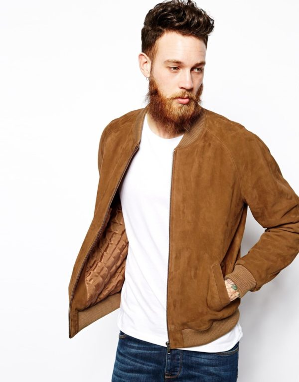 ASOS Suede Bomber Jacket In Tan £100.00