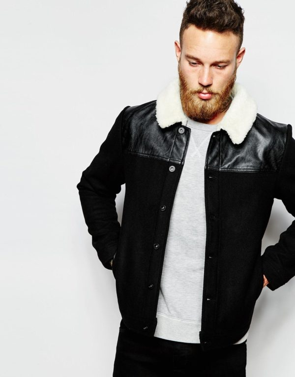 ASOS Wool Harrington Jacket With Faux Shearling Collar In Black £55.00