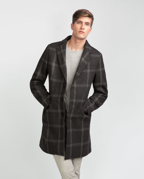 CHECKED CLOTH COAT £129 Zara