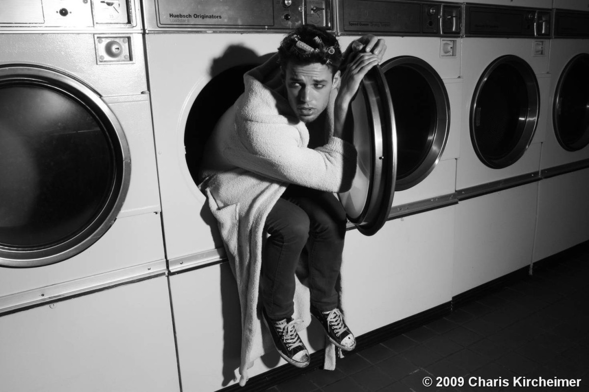 Man in washing machine