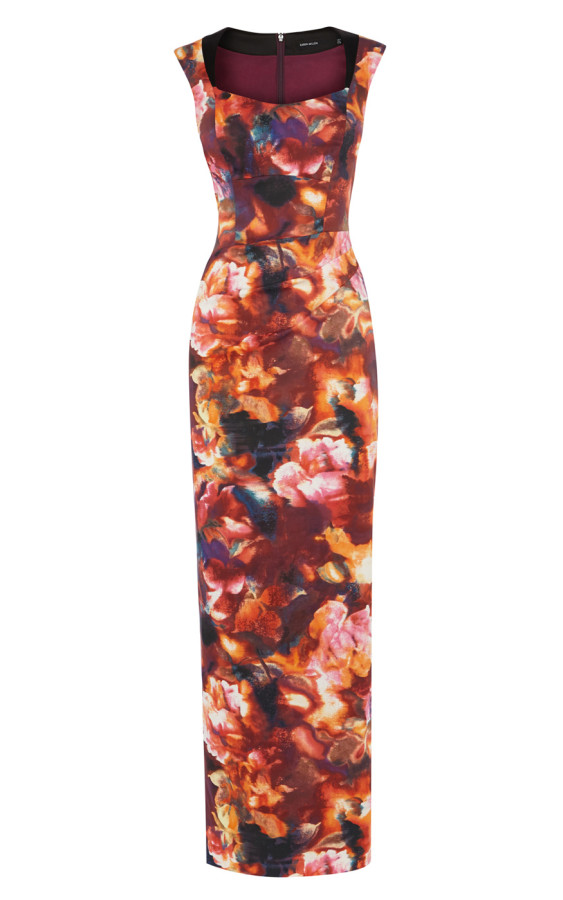 FLORAL-PRINT FITTED MAXI DRESS £250 (Karen Millen)