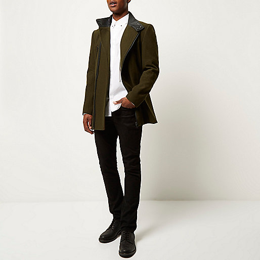 Green smart wool-blend winter coat £110.00 river island