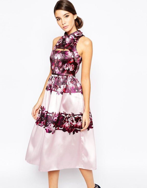 True Violet Full Prom Midi Dress In Sateen With Cut Out £80.00 ASOS7