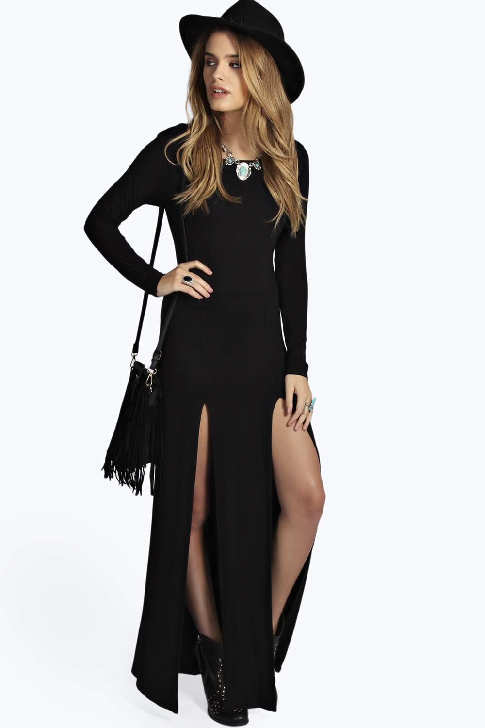Ebony double split maxi dress