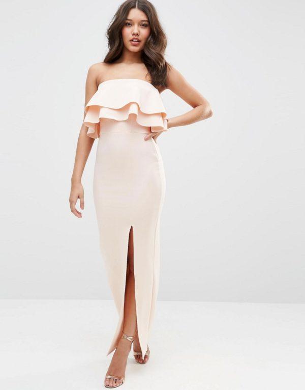 ASOS Premium Ruffle Bandeau Scuba Maxi Dress
