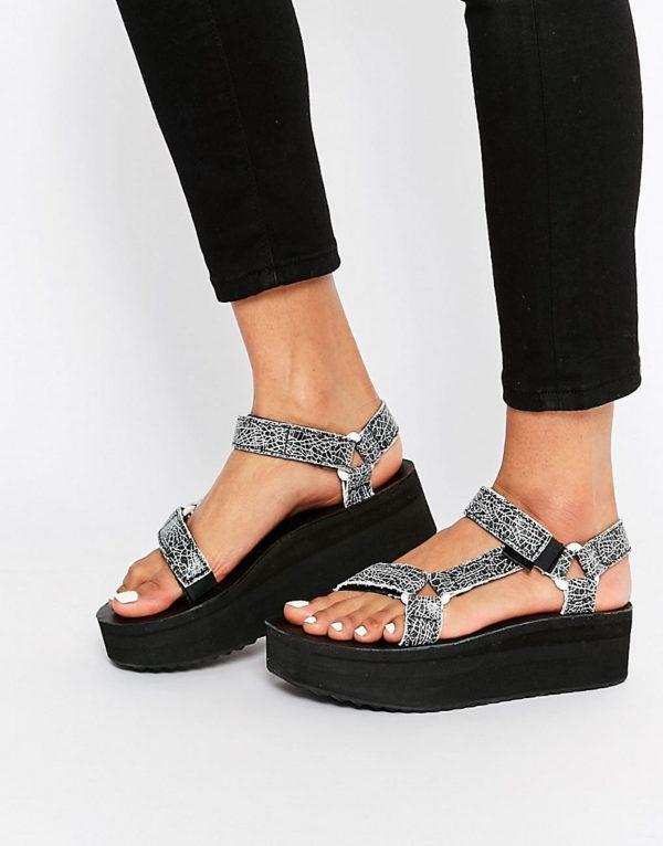 Teva Flatform Universal Crackle Black Sandals £60.00