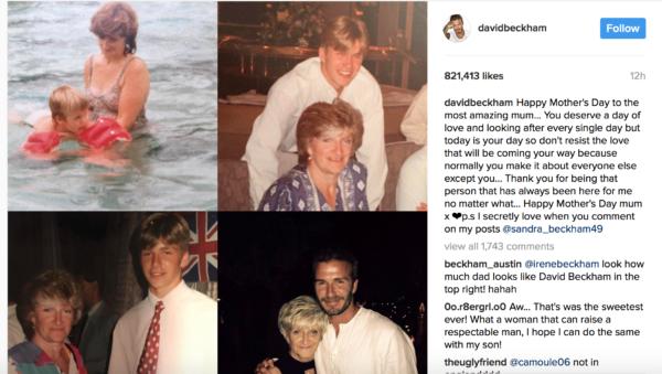 David Beckham tribute to mum